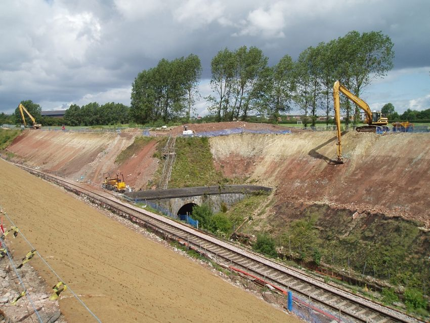 Rail embankment stabilisation near Bristol