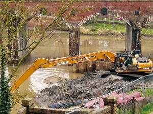 Dredging of historic furnace pools at Coalbrookdale, Ironbridge